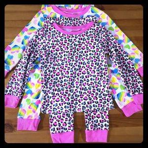 4 Pc Pajama Set Leopard Animal Rainbow Hearts Girl